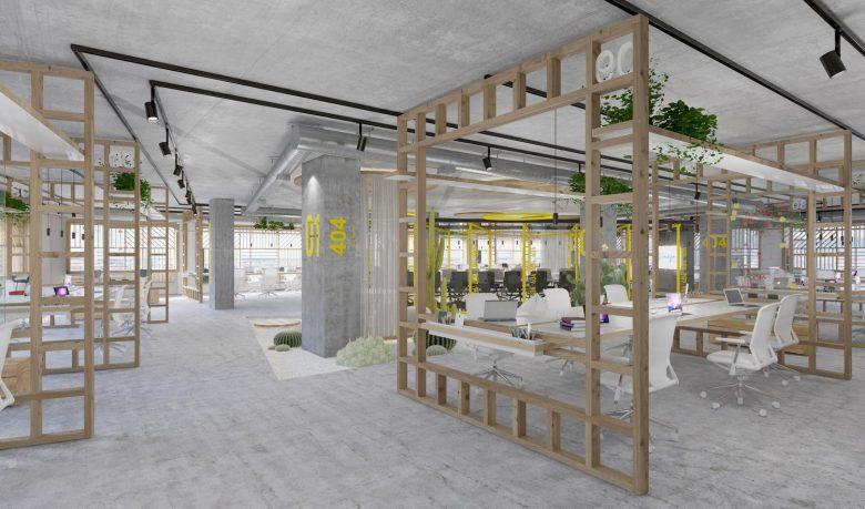 Oficinas modernas hormigón Open space