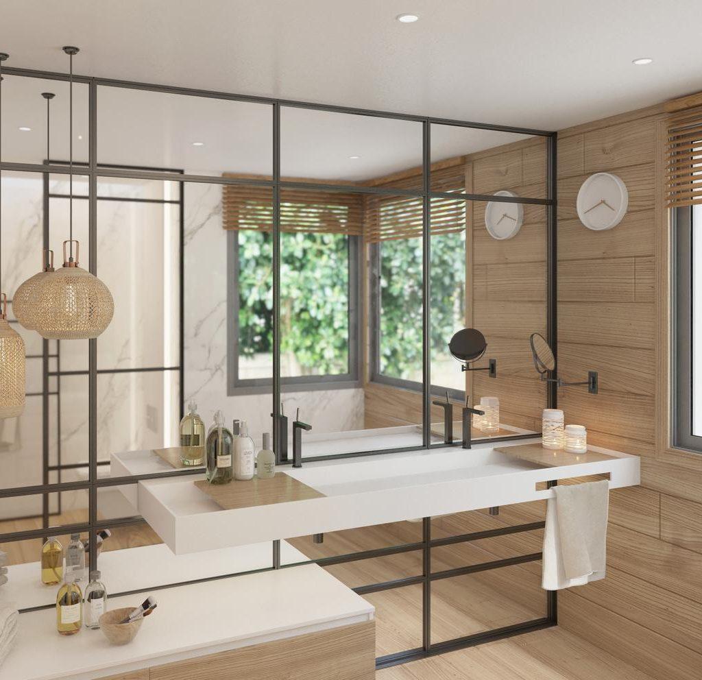 pared espejo baño cuarterones