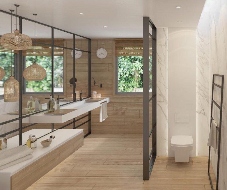 baño madera moderno