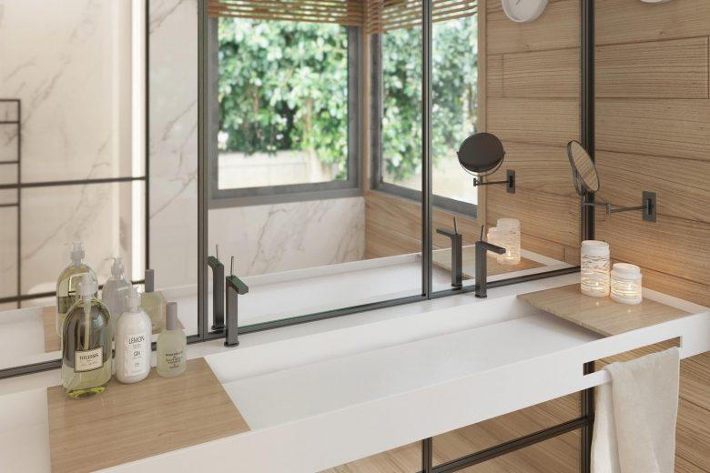 detalle baño lavamanos doble corrido corian