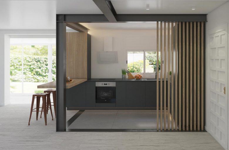 Cocina Office Madera, acero y lamas madera