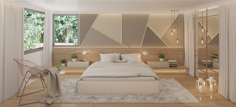 cabecero suite led madera