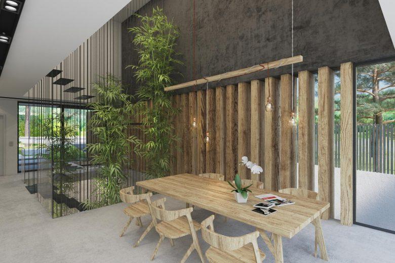 comedor doble espacio vegetacion