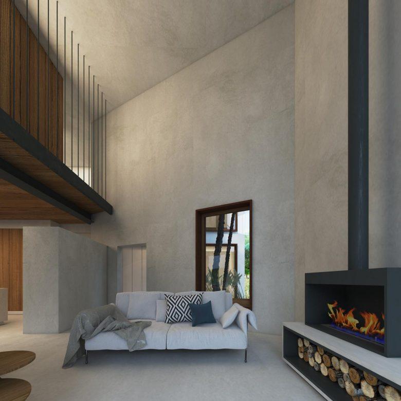 salon doble espacio con pasarela